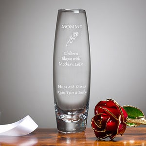Engraved Glass Bud Vase with 24k Gold Rose - 2626