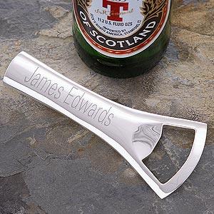 Custom Personalized Silverplated Bottle Opener - 2663