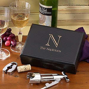 Personalization Mall Monogrammed Wine Accessory Set - Five Piece Set In Wood Box at Sears.com