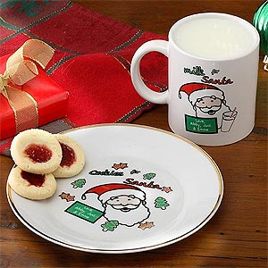 Cookies u0026 Milk for Santa Personalized Plate u0026 Mug Set - 2777 & Personalized Cookie Plate for Santa - Main Mall