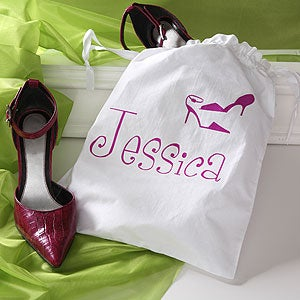 Personalized Womens Drawstring Shoe Bags