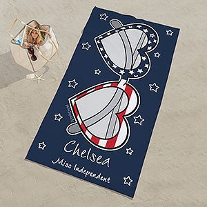 Patriotic Hearts and Stars Personalized Beach Towel