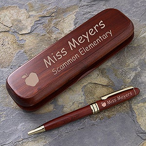 Engraved Rosewood Teacher Pen and Case Set - 2816