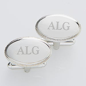 Personalized Silver Cuff Links - Monogram Elite Collection - 2822