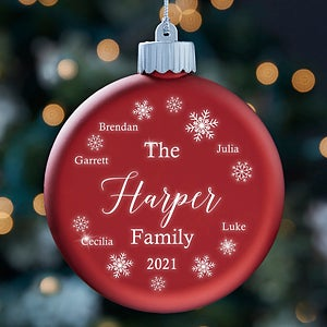 Winter Cheer Personalized LED Red Glass Ornament-28351