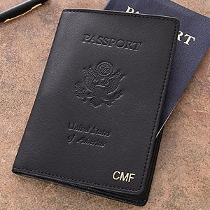 Personalization Mall Personalized Leather Passport Covers - First Class Monogram Design Black at Sears.com