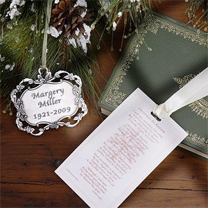 Personalization Mall Engraved Christmas In Heaven Pewter Ornament Set With Verse at Sears.com