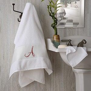 White Cotton Monogrammed Bath Towels - 2896