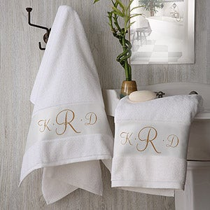 White Cotton Monogrammed Bath Towels - 2896