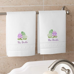 Personalized Linen Guest Towel Set - Easter Design - 2948