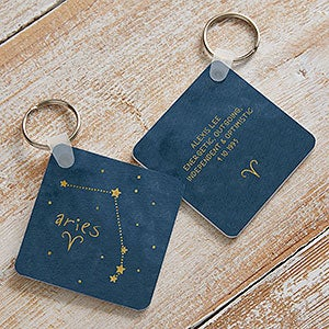 Faux Leather Rectangle Keychain Personalized Engraving Included Zodiac Sign Aries