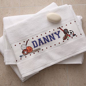 Personalized Kids Custom Bath Towel - Sports Star - 2978
