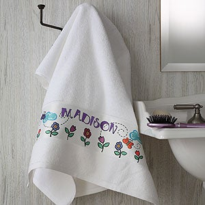Personalized Kids Custom Bath Towel - Girl Time - 2979