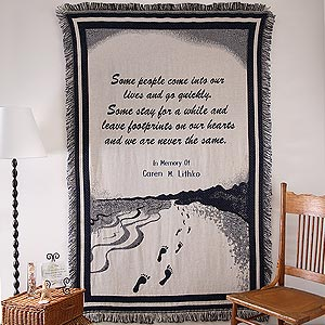 Personalization Mall Embroidered Memorial Footprints Tapestry Afghan Blanket at Sears.com
