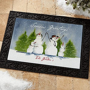 Personalized Snowman Family Holiday Door Mat - 3031
