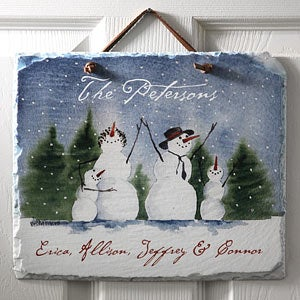 Personalized Snow Family Welcome Slate Plaque - 3034