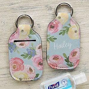 Hand Sanitizer Holder Keychains Purple Sunflower Sanitizer Keychains Custom Blank or Personalized