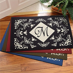 Initial Monogram Personalized Door Mats with Scrolling Design - 3105