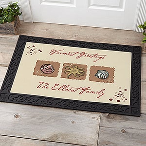 Personalized Sea Shell Doormat - Sea Shore Welcome Mat - 3109