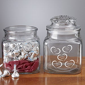 Candy Jar with Personalized Etched Hearts - Conversation Hearts Design - 3181