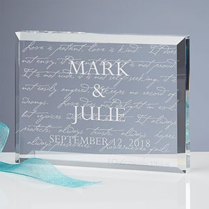 Personalized Love Is Patient Glass Keepsake Sculpture - 3193