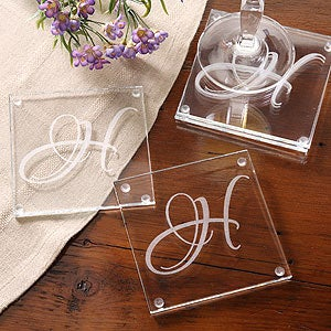 Engraved Initial Monogram Glass Coaster Set - 3205