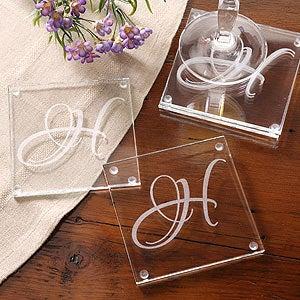 Engraved Initial Monogram Glass Coaster Set - 3205