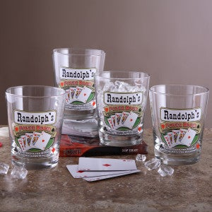 Personalized Pub Glasses and Pitcher Set - Poker Room - 3255D