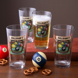 Personalized Pub Glasses and Pitcher Set - Pool Room - 3257D