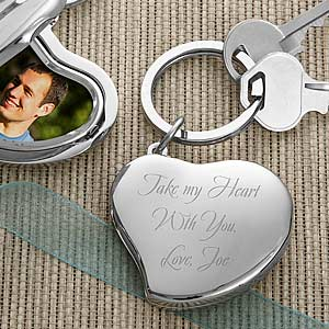 Engraved Heart Photo Locket Key Ring - 3269