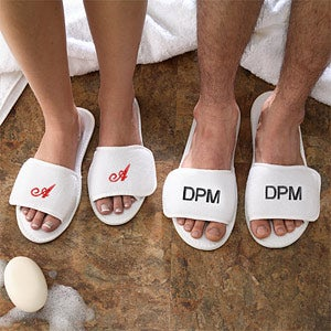 Monogrammed Terry Spa Slippers With Velcro Closure - 3347