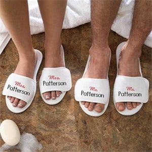 Embroidered Terry Cloth Spa Slippers - Mr and Mrs Collection - 3348