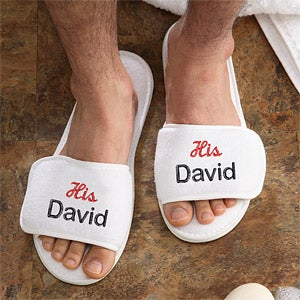 Personalized Terry Cloth Spa Slippers - His and Hers Design - 3349