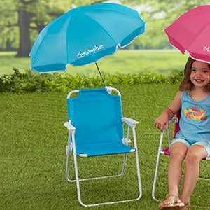 Buy personalized kidu0027s beach chair with attached umbrella in blue by Stephen Joseph. The blue umbrella can be personalized with any name!  sc 1 st  Personalization Mall & Personalized Kids Beach Chair u0026 Umbrella Set - Blue