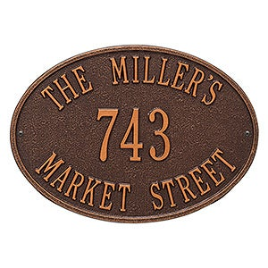 Oval Personalized House Address Plaque - 3402D