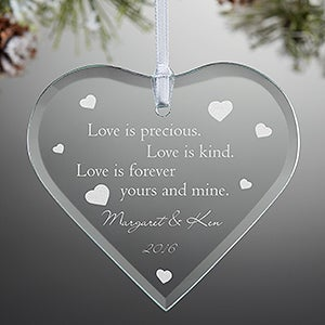Engraved Glass Heart Christmas Ornament - True Love Design - 3458