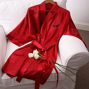 Shimmering Satin Kimono Robe