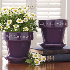 Personalized Purple Ceramic Flower Pot