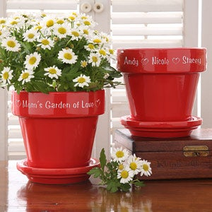 Personalization Mall Mother's Day Gifts -  Personalized Red Ceramic Flower Pot at Sears.com