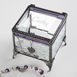 Personalized Vintage Glass Trinket Box With Initial - 3518