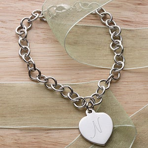 Personalized Silver Heart Charm Girls Bracelet - 3527
