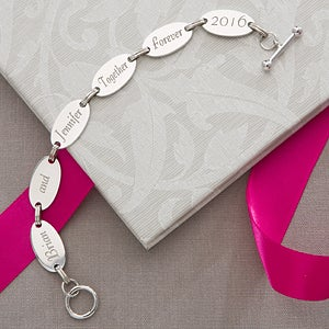 Engraved Sterling Silver Link Bracelet with Loving Messages - 3565