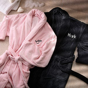 Embroidered Micro Fleece Robes
