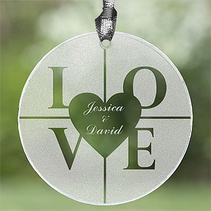 Etched Glass Suncatcher - Personalized Love Design - 3570