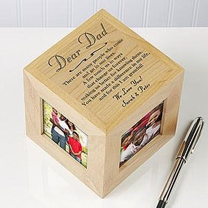 Personalized Wood Photo Cube With Dad Poem - 3614