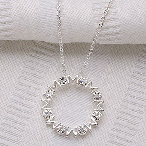 Personalization Mall Mother's Day Gifts -  Mother's Day Sterling Silver and Crystal Pendant Necklace at Sears.com