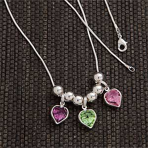 Custom Birthstone Heart Pendant Necklace for Mom and Grandma - 3659D