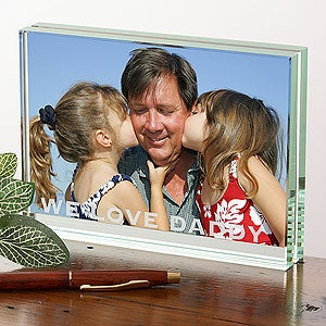 Personalized Glass Block Photo Frame Just For Him - 3672