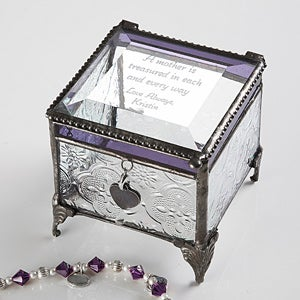 Personalized Vintage Glass Jewelry Box With Custom Poem - 3678