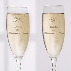 Personalized Crystal Wedding Champagne Flutes - Mr and Mrs Collection - 3706
